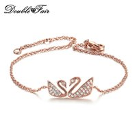 Wholesale Swan Set - Hot Sale Swan CZ Diamond Rose White Gold Plated Charm Bracelets For Women Anniversary Wholesale Jewelry DFH097