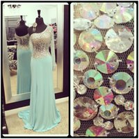 Wholesale See Through Chiffon Tops - Real Sample Sheer Single Long Sleeve Prom Dresses 2017 See Through Chiffon Sequin Top A Line Light Blue Prom Dress With Slit