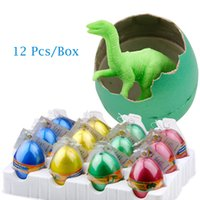 Wholesale Dino Boy - Wholesale-12 Pcs Box Cute Magic Inflation Growing Dino Egg Hatching Growing Dinosaur Eggs Toy Water Children Kids Classic Toy For Boys