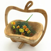 Wholesale Decoration Bamboo Basket - Novelty Folding Apple Shape Fruit Bamboo Collapsible Basket Home Storage For Picnic Table Decoration Free Shipping ZA3620