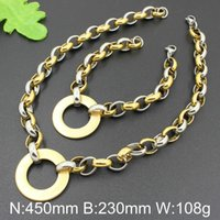 Wholesale Gold Necklace Patterns Women - Gold Plated Jewelry Sets For Women and Men 10mm Width Bracelet With Necklace Fashion Round Pattern Jewelry Sets