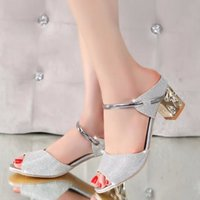 Wholesale Thick Sandals Wholesale - Wholesale- 2016 Summer elegant fashion women casual shoes Thick with sandals peep-toe beach shoes med heel bright gold silver color