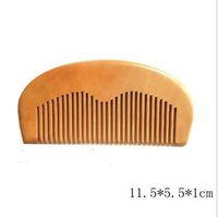Wholesale Wooden Combs Wholesale - 1pcs Natural Peach Wooden Comb Beard Comb Pocket Comb 11.5*5.5*1cm free shipping