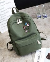 Wholesale College Bags Trend - The latest trend of the palace off white simple simple color canvas shoulder bag badge fashion backpack foreign trade college wind