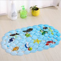 Square oval shape mat - Cute Animal Sea Shells Shaped Oval Bath Mat For Tub Non Slip Suction Cup Massage Mats For Toilet And Kitchen