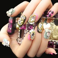 Nuove falsi chiodi Fake Nails Fingernails Sparkling Gem Fashion Stile bello 1 Box 24 Pezzi falso Nail Art Modeling Tools