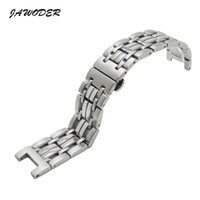 Wholesale button interface - JAWODER Watchband 22mm Men Concave Interface Pure Solid Stainless Steel Polishing+Brushed Watch Strap Deployment Buckle Bracelets for Gc