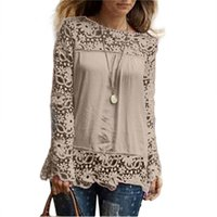 Wholesale Women S Office Wear Wholesale - Wholesale- 2016 Fashion Women Long Sleeve T-Shirt Top O-Neck Solid Casual Lace Shirts Tops T Shirt Woman Ladies Office Wear Clothes S-5XL