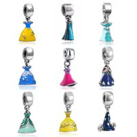 Wholesale Enamel Beads Big Hole - Promotion Enamel Princess Dress Beads Silver Plated Big Hole Charm Pendant Fit Necklace Bracelet Jewelry Accessories