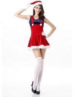 Wholesale Costume Santa Claus Woman Sexy - Sexy Christmas Costumes For Women 4 Pieces Sexy & Naughty Christmas Costumes Suspender skirt With a Dark Blue Top +Gloves+Whiskers+Hat