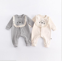 Wholesale Long Cotton Bibs - INS 2017 new fall 100% cotton baby kids climbing romper long sleeve round collar lion print bibs and romper baby girl boy romper 0-2T