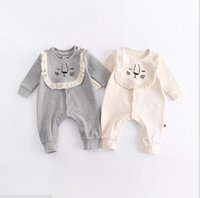Wholesale boys romper lion for sale - Group buy INS new fall cotton baby kids climbing romper long sleeve round collar lion print bibs and romper baby girl boy romper T