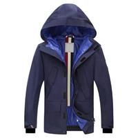 Wholesale white bow coat - Men Coat Waterproof Turtleneck Hooded Jacket Pockets Zip Fly Quilted Coat Winter Mens Solid Long Sleeves Garment