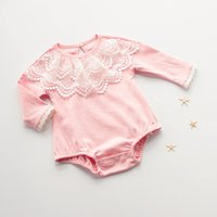 Wholesale Chic Baby Clothes - Chic Baby Girls Clothes ,Baby Newborn Girl Take Home Outfit ,Newborn Baby Girl Long Sleeve Lace Ruffle Bodysuit ,Child Clothes