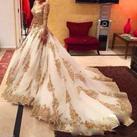 Wholesale traditional wedding dress straps resale online - African Traditional Wedding Dresses Gold Applique Formal Long Sleeves Bridal Gowns Organza Sweep Train Arabic Vestidos