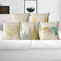 Wholesale Geometric Pillow Covers - Set of 4 Geometric Modern Cushion Pillow cover Sofa Pillowcase Cushion Case Cotton Linen for Home Car Office Decorative 45CM