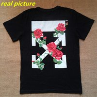 black rose print - High Quality Mens OFF WHITE T Shirt Male Cotton Rose Printed Black OFF WHITE T Shirts Fashion Casual Plus Size TShirt Top Tee