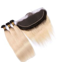 Wholesale Cheap Blonde Hair Extensions Dark - Ombre Lace Frontal With 3 Bundles Straight Peruvian Virgin Hair Cheap Two Tone Human Hair Weaves Closure T1b 613 Dark Root Blonde Extensions