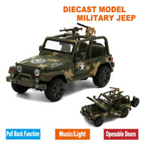Wholesale Diecast Model Car Jeep - Diecast Military Jeep Model, Army Toy Cars With Gift Box Openable Doors Music Light Pull Back Function As Souvenir For Children