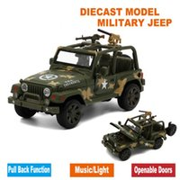 Wholesale Diecast Military Jeep Model Army Toy Cars With Gift Box Openable Doors Music Light Pull Back Function As Souvenir For Children