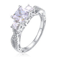 Wholesale White Topaz Stones - Princess Cut Fashion Jewelry Three Stone 925 Sterling Silver Filled White Topaz CZ Diamond Gemstones Wedding Women Band Ring Gift Size 5-11