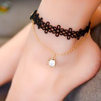 Wholesale Vintage Unique Bracelet - Wholesale Anklets Unique Vintage Black Lace Gold Chain Crown Charm Pendant Ankle Bracelets Barefoot Sandal Goth Foot Jewelry for Women 7198