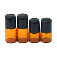 Wholesale Hot Stamping Bottle - Empty Amber Roll-On 1ml Glass Bottle Metal Roller Ball 2ml Bottle Essential Oil Liquid fragrance Bottle
