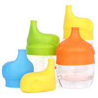 Wholesale Silicone Bowl Covers - Elephant shape Anti-overflow SipSnap sippy silicone sippy cup lid baby sippy cups no leak for baby pacifier bowl cover 170402
