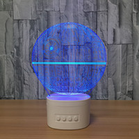 Wholesale water drop speaker - 3D Death Star LED Illusion Lamp Bluetooth Speaker with 5 RGB Lights TF Card Slot DC 5V USB Charging Wholesale Dropshipping