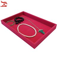 Wholesale Display Tray Necklace - Retail High Quality Velvet Jewelry Display Cases Four Colors Necklace Bangle Bracelet Storage Organizer Flat Tray 35*24*3cm