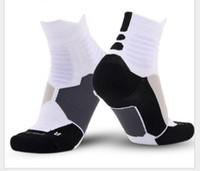 Wholesale Discount Socks Free Shipping - Cheap Discount New Professional Sports Socks with Thick Towels Socks Elite Basketball Soccer Outdoor Sport Socks 5 Colors Free DHL Shipping