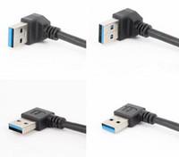 adaptador usv vga dvi venda por atacado-Cabos de Áudio QUENTE Universal 15 cm Cabo de Extensão USB USB 3.0 Macho para fêmea A 90 Graus de Extensão de Dados Cabo de Sincronização Cabo Adaptador de Fio