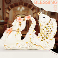 Carved blessing gift boxes - blessing Salary fish ceramics in pairs White ceramics in pairs Home Furnishing Decor minimalist interior furnishings lover ceramic gift room
