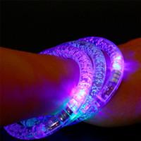 Wholesale Led Blinking Bracelets - LED Colorful Flashing Bracelet Light Acrylic Blinking Crystal Bracelets Color Hand Ring Bangle Stunning Dance Party Christmas Gifts