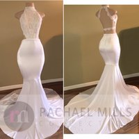 Wholesale Evening Halter Top White Gowns - 2017 New Hot Halter High Neck White Prom Dresses Criss Cross Backless Mermaid Lace Top Satin Long Train Evening Gowns Formal Robe de soriee