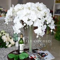 """Wholesale Ornament Supplies - 90 cm 35"""" Length Elegant Artificial Phalaenopsis Flowers Butterfly Orchid Bouquet For Christmas Home Ornament Party Decorations supplies"""