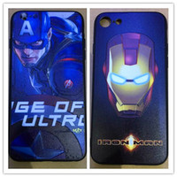 Wholesale Captain Painting - DHL Free Embossment Painted Soft TPU Cover Superman Spider Iron Man Captain America Spiderman Phone Protection Case for iPhone 6 6S 7 Plus