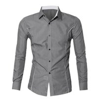 Wholesale Korean Formal Dresses Design - Wholesale- KLV 2016 New Fashion Brand Camisa Masculina Long Sleeve Shirt Men Korean Slim Design Formal Casual Male Dress Shirt Size