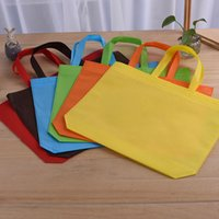 Wholesale Flat Weave Shop - 6 colors Convenient and lighter plain non-woven bag vertical version custom tote bags recycled reusable shopping bags IA579