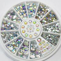 Wholesale Mix Rhinestones Wheel - Wholesale-Designed 5 Sizes Mixed Colors Acrylic Glitter Rhinestones Nail Art Salon Stickers Tips DIY Decorations Studs With Wheel 5H6T