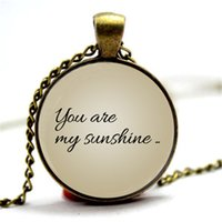 Wholesale Glasses Sunshine - 10pcs You Are My Sunshine- My only sunshine . Paired necklace. Set of two pendants jewelry. Glass Cabochon Necklace