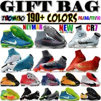 Wholesale White Soft Leather Boots - Mens Mercurial Superfly CR7 V AG FG Football Boots Ronaldo High Ankle Magista Obra II ACC Soccer Shoes Neymar JR Phantom IC TF Soccer Cleats