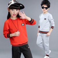 Wholesale Two Cute Boys - Boys spring suit 2017 spring new thread girl sportswear children two sets of clothes