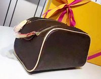 Wholesale Leather Big Travel Bag - Free shipping Wholesale designer double zipper women cosmetic bag big travel organizer storage wash bag high quality leather case