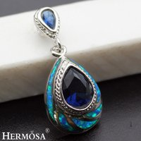 "Wholesale Opal Pendant Silver 925 - Natural Blue Opal Pendants Jewelry Ocean Sapphire 925 Sterling Silver Fashion Jewelry Charm Teardrop Best Quality 1 1 4"" INCH"