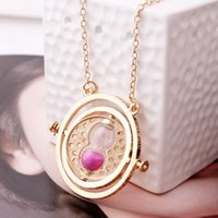 Wholesale Hourglass Figure - Hourglass Necklace Harry Potter Time Turner Torque Converter Necklaces Action Figures Movies Hermione Granger Rotating Spins Gift 2 8yy H1