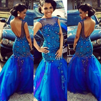 Wholesale Celebirty Dresses - Sexy Open Back Africa Evening Dresses 2018 Sheer Neck Lace Applqieu Beads Floor Length Prom Party Gown Plus Size Celebirty Pageant Dress