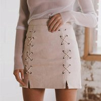 Wholesale Womens Suede Skirts - 2016112134 Lace Up Leather Suede Pencil Skirt Winter 2016 Cross High Waist Autumn Skirt Zipper Split Bodycon Short Skirts Womens
