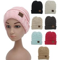 Wholesale Crochet Hat Colors - Kids CC Beanies 8 Colors Fashion Knitted Hats Cap Beanies for Children Winter Hats Kids Cable Slouchy Hats Christmas Gifts D747