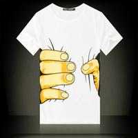 büyük el tişörtü toptan satış-Yeni erkek Giyim Tee Kısa Kollu O-Boyun Erkekler Ince Gömlek 3D Büyük El T Gömlek erkekler T gömlek Adam Için Tees Tops
